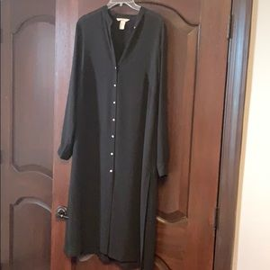 HM sheer black button down tunic